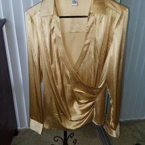 Cache - 100% silk gold top - v neck, long sleeve,M
